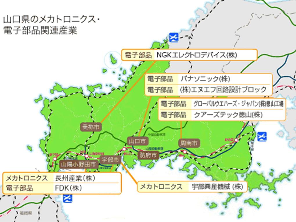 山口県のメカトロニクス、電子部品関連産業